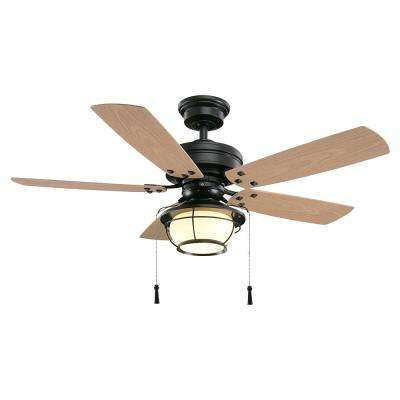 North Shoreline 46 in. LED Indoor/Outdoor Natural Iron Ceiling Fan with Light Kit