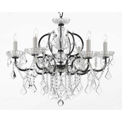 Versailles 6-Light Iron and Crystal Black Chandelier