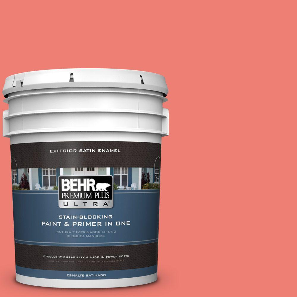 5-gal. #170B-5 Youthful Coral Satin Enamel Exterior Paint