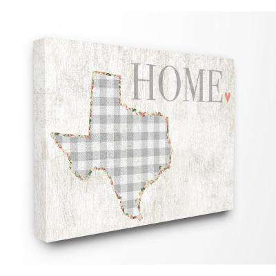"16 in. x 20 in.  ""Texas Grey Gingham and Floral Heart and Home"" by Daphne Polselli Canvas Wall Art"
