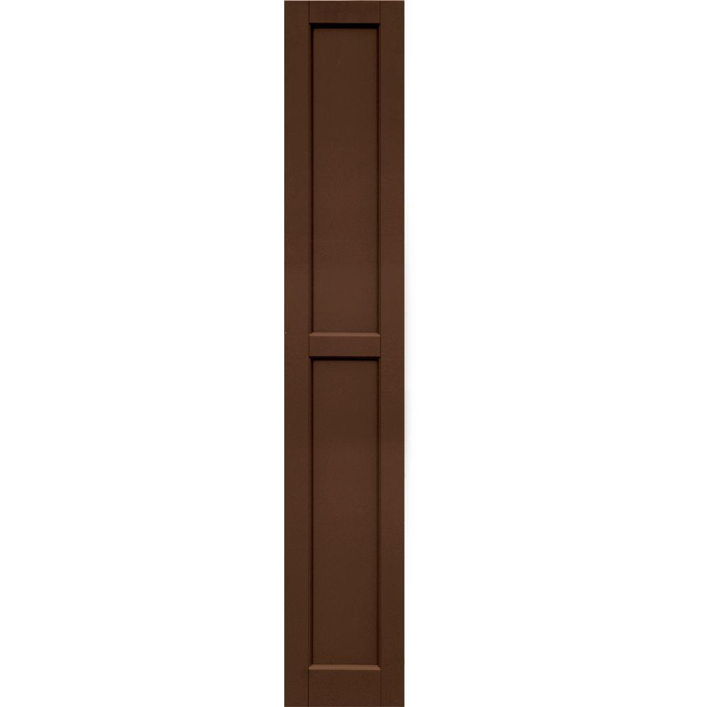 Winworks Wood Composite 12 in. x 71 in. Contemporary Flat Panel Shutters Pair #635 Federal Brown