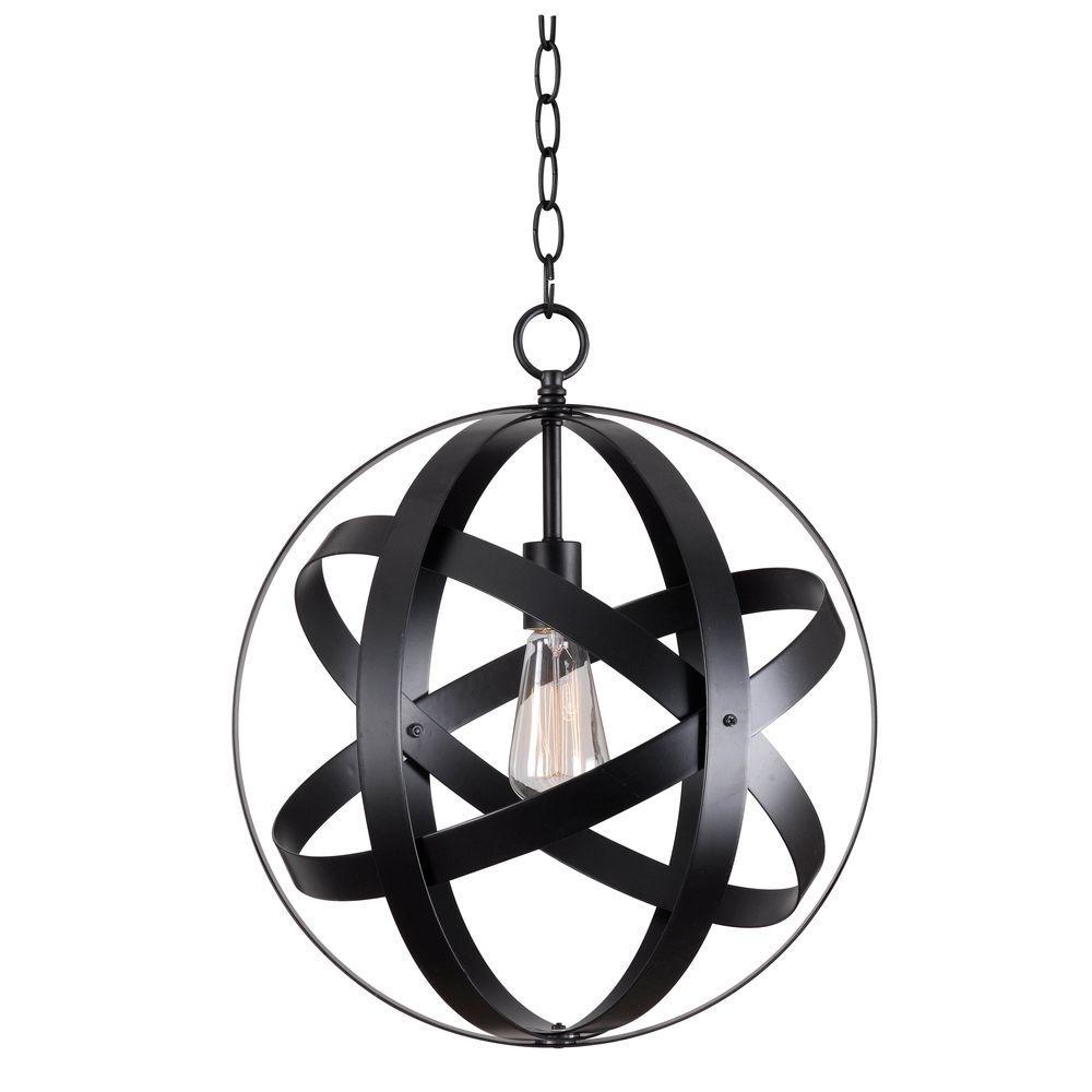 Global 1-Light Black Pendant