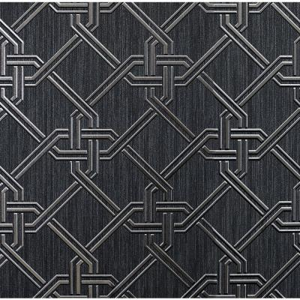 Gianni Foil Black and Silver Vinyl Wallpaper