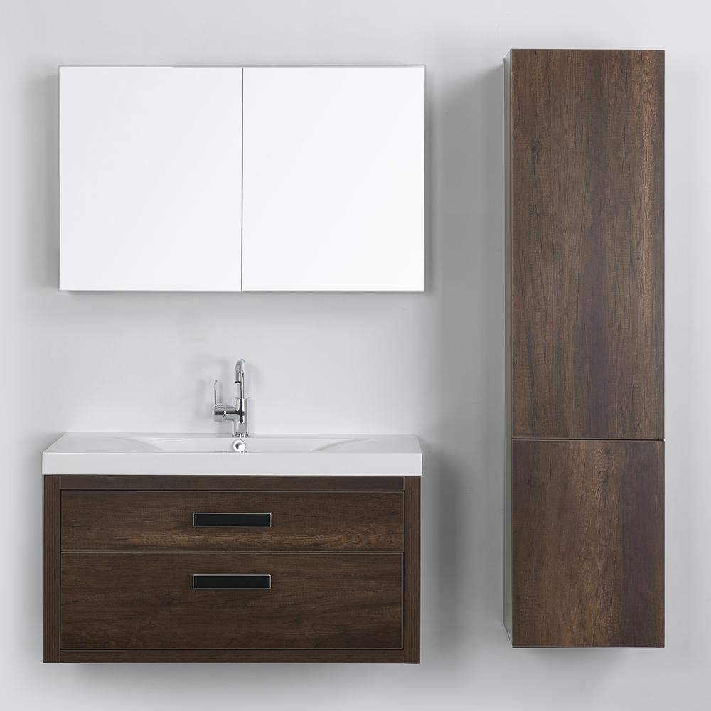 Streamline 39.4 in. W x 19.4 in. H Bath Vanity in Brown with Resin Vanity Top in White with White Basin and Mirror