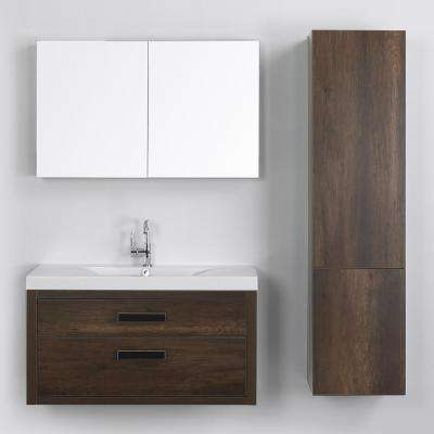 39.4 in. W x 19.4 in. H Bath Vanity in Brown with Resin Vanity Top in White with White Basin and Mirror