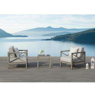 Pasadena 3-Piece Aluminum Square Outdoor Bistro Set with Olefin Grey Cushions