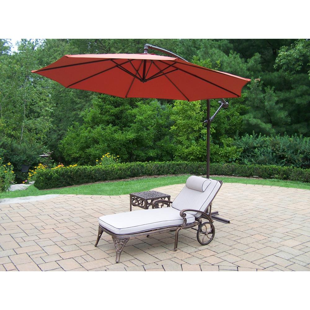 4-Piece Aluminum Outdoor Chaise Lounge Set with Burnt Orange Umbrella