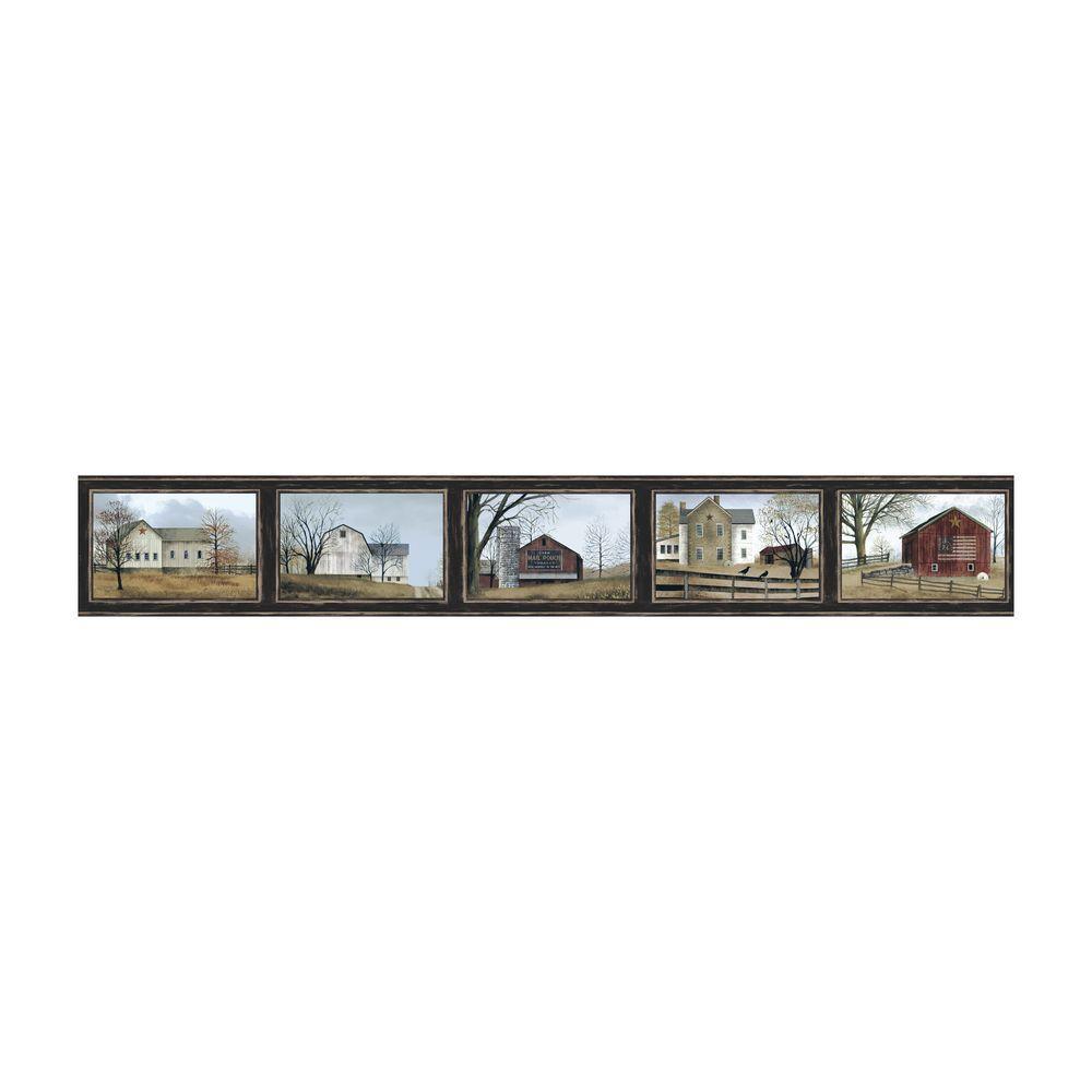 York Wallcoverings Best Of Country Framed Scenic Wallpaper Border