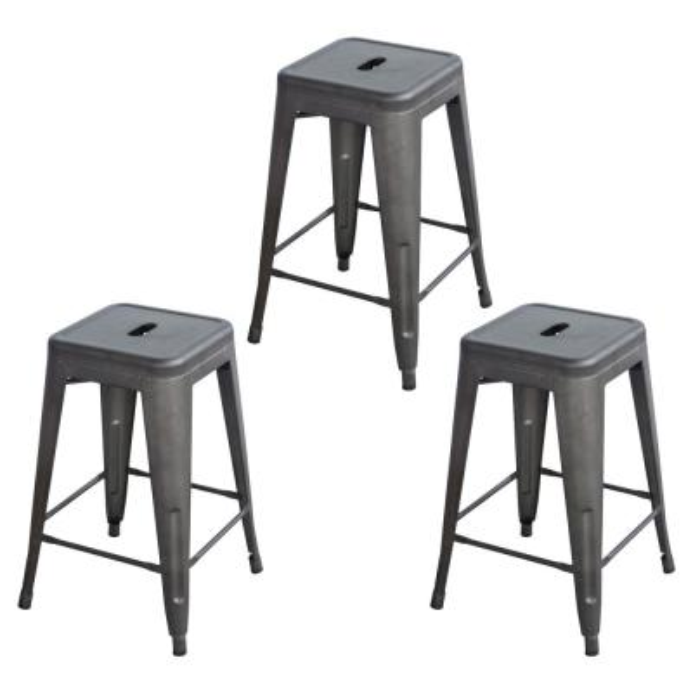 24 in. Gunmetal Grey Loft Style Stackable Metal Bar Stool (Set of 3)