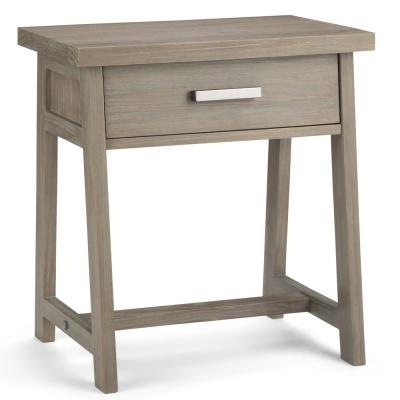 Sawhorse 1-Drawer Solid Wood 24 in. Wide Modern Industrial Bedside Nightstand Table in Distressed Grey