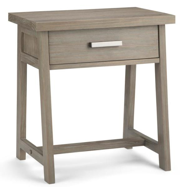 Sawhorse 1 Drawer Solid Wood 24 In Wide Modern Bedside Nightstand Table Distressed Grey
