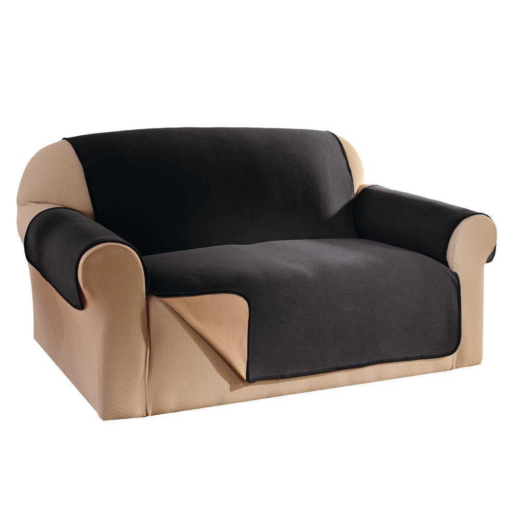 black reversible waterproof fleece sofa furniture protector