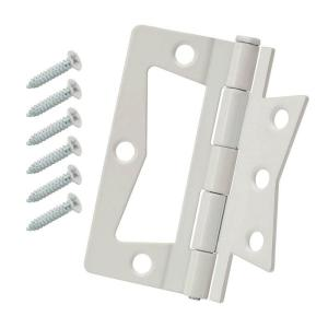 3 in. White Non-Mortise Hinges (2-Pack)