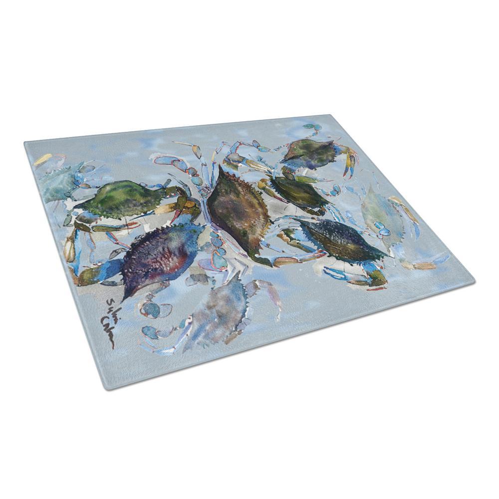 Caroline's Treasures Crab Tempered Glass Cutting Board 8016LCB