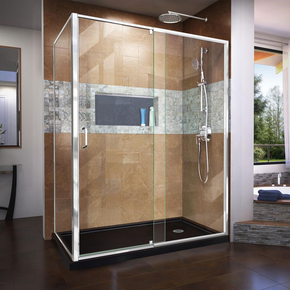 DreamLine Flex 60 in. x 74.75 in. Semi-Frameless Pivot Shower ...