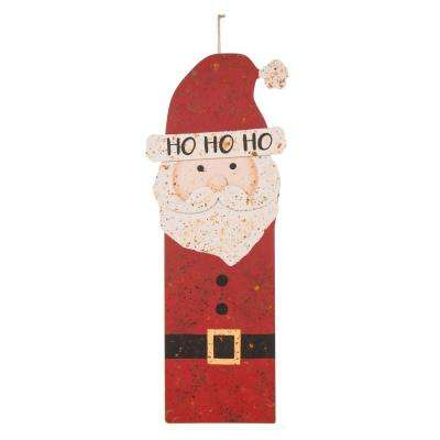 35.98 in. H Rusty Metal Santa Dcor