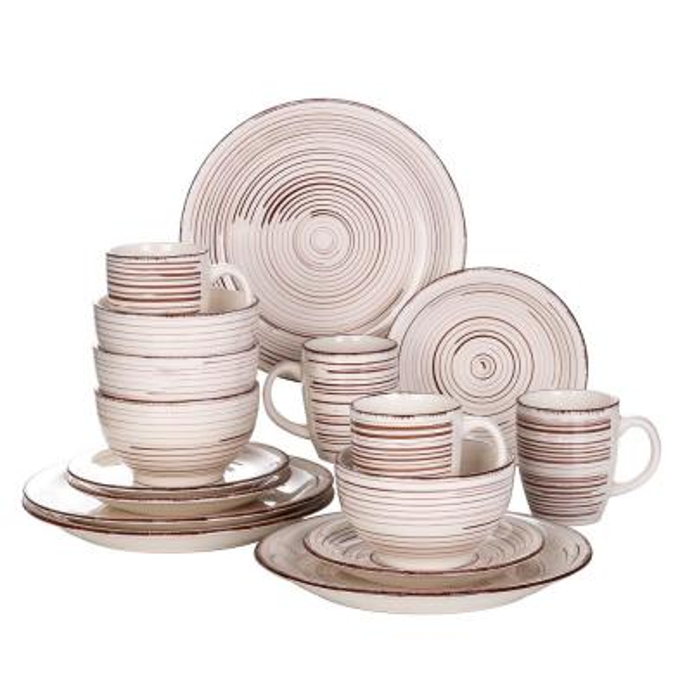 Bella 16-Pieces Dinnerware Set Porcelain Dinner Set Crockery in Vintage Look Combination Sets Beige (Service for 4)