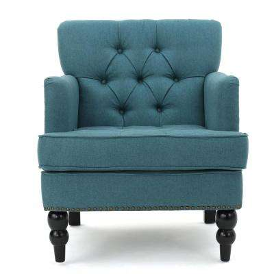 Malone Tufted Dark Teal Fabric Club Chair with Stud Accents