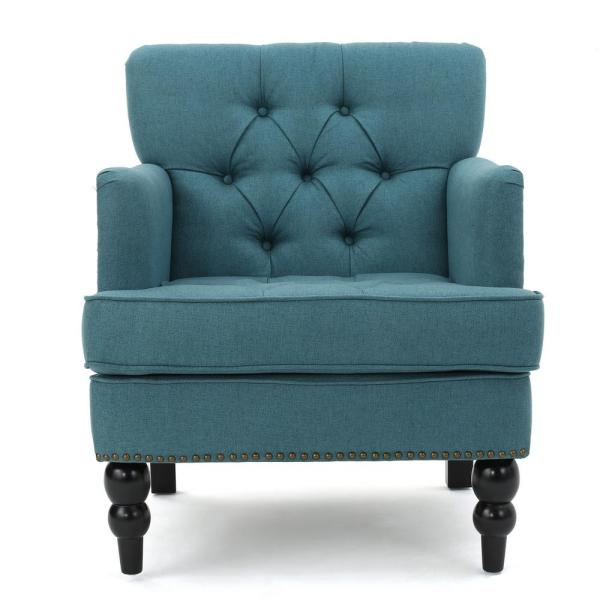 Noble house malone tufted dark teal fabric club chair with - Dark teal accent chair ...
