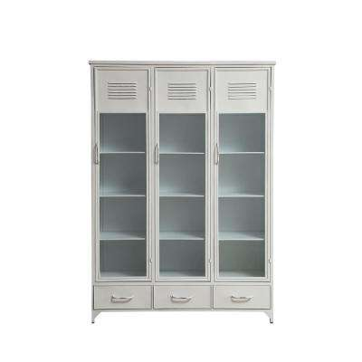 White Metal and Glass Locker Style Cabinet with 3-Drawers and 15-Compartments