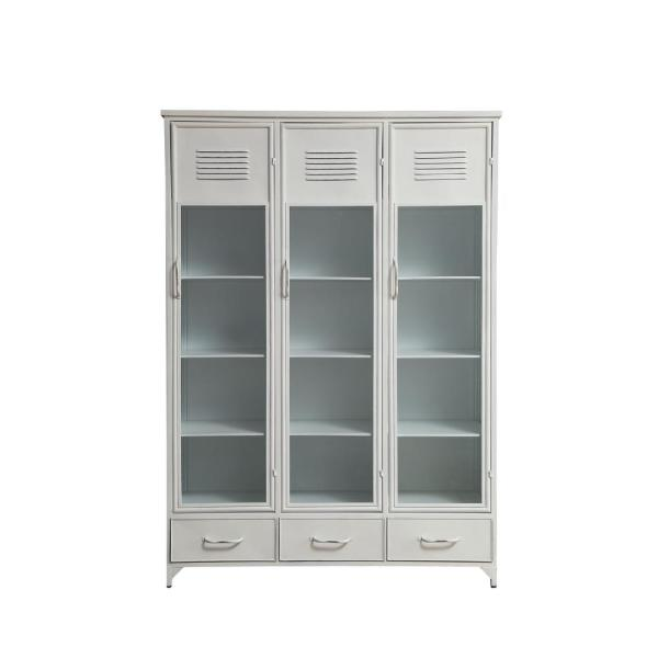 White Metal And Glass Locker Style Cabinet With 3 Drawers And 15 Compartments
