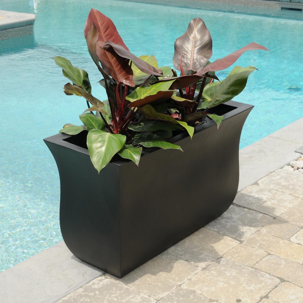 Valencia 36 in. x 16 in. x 22 in. Black Long Polyethylene Planter