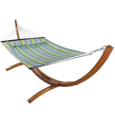 10-3/4 ft. Quilted 2-Person Hammock with 12 ft. Wooden Curved Arc Stand in Blue/Green