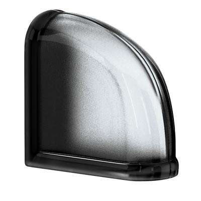 Licorice 5.75 in. x 5.75 in. x 3.15 in. Classic Black End Curved Glass Block