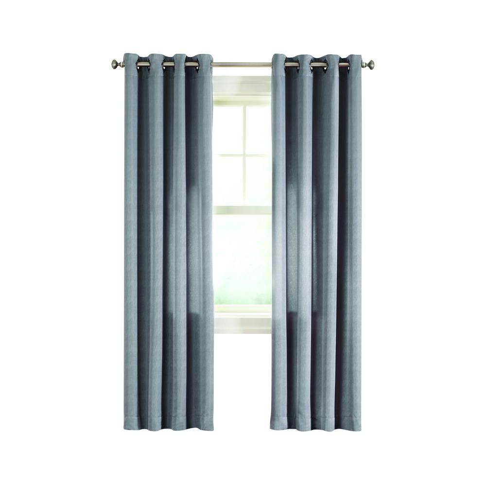 Home Decorators Collection Gray Briarhill Room Darkening Curtain 50 In W X 63 In L