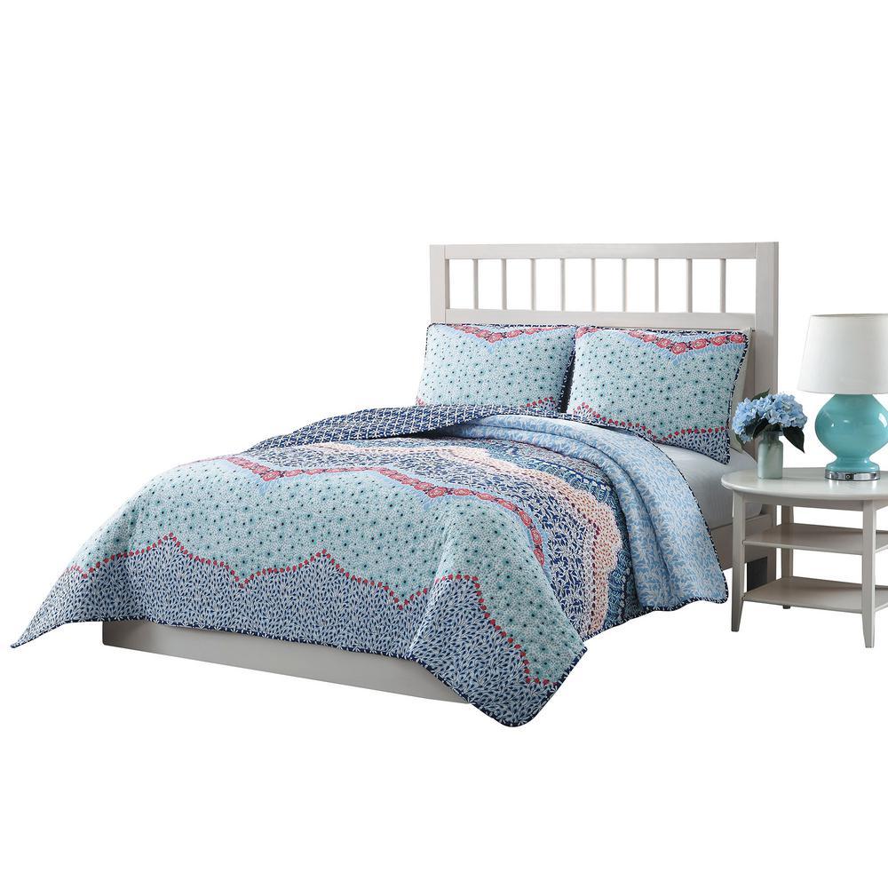 Caravan 3-Piece Blue/Pink/Purple/White King Reversible Quilt Set