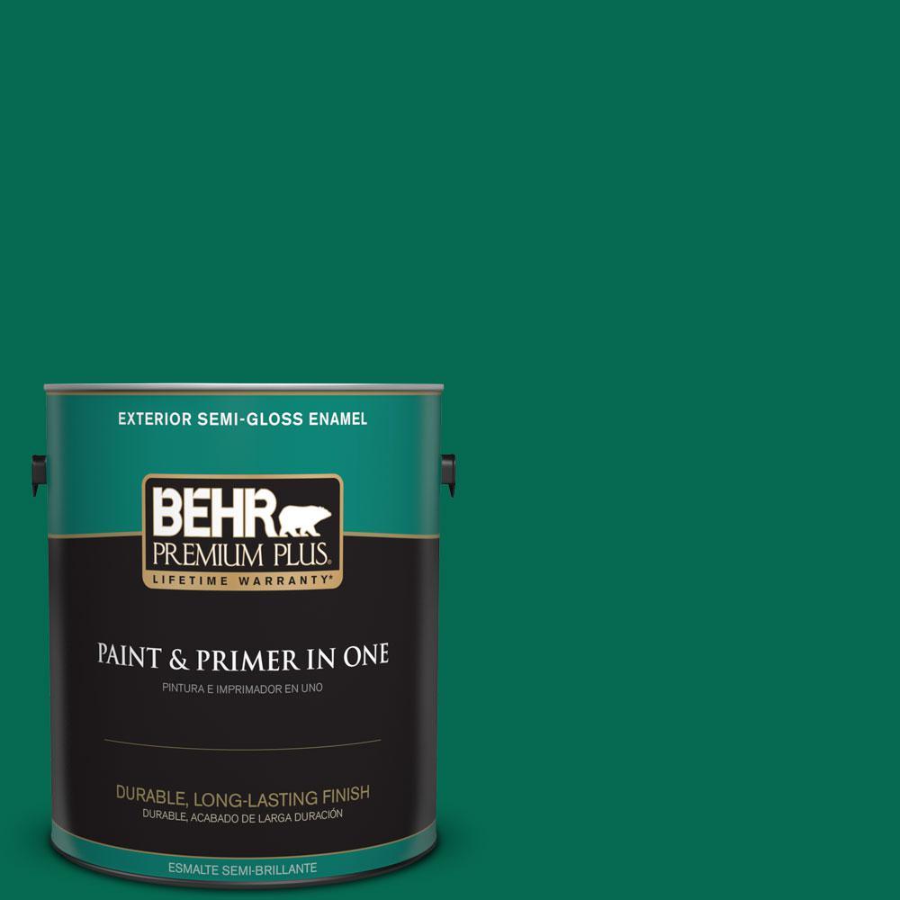 BEHR Premium Plus 1-gal. #480B-7 Clover Brook Semi-Gloss Enamel Exterior Paint