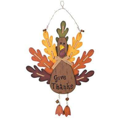 20.67 in. H Burlap/Wooden Turkey Wall Decor