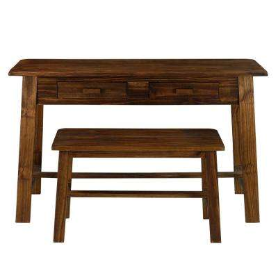 Nostalgia Brown Rustic Desk with Bench