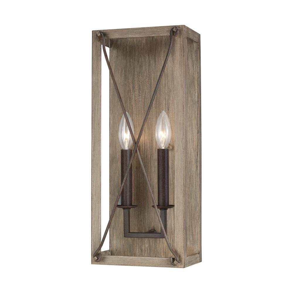 Sea Gull Lighting Thornwood 7.5 in. 2-Light Washed Pine and Weathered Iron Accents Sconce with Dimmable Candelabra LED Bulb
