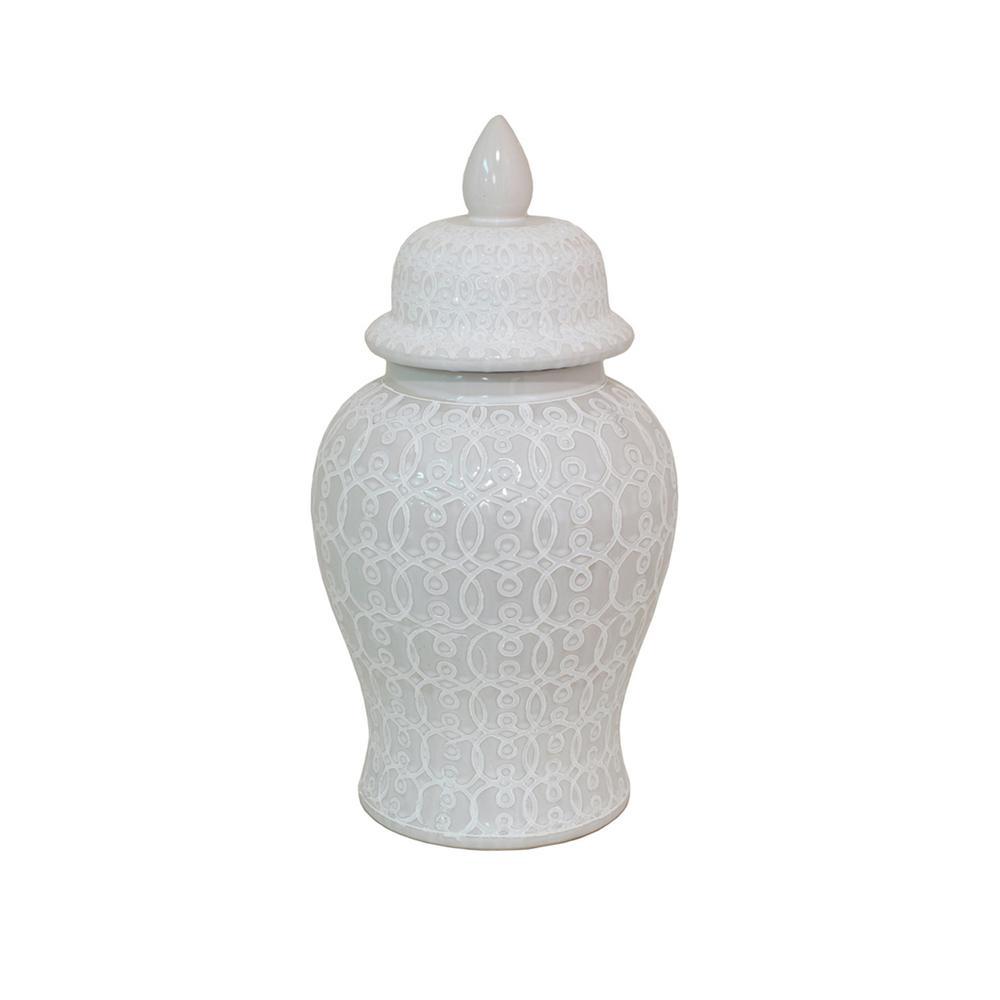 19 in. White Ceramic Temple Jar
