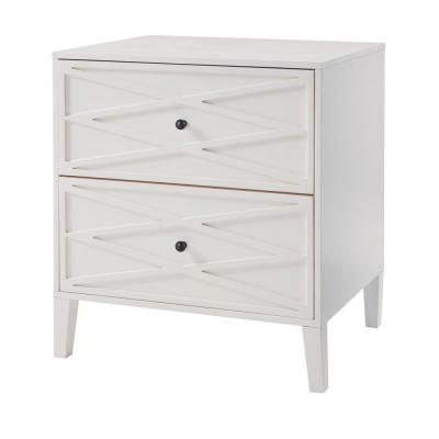 Newford 2 Drawer Ivory Wood Nightstand with Diamond Trim (26 in W. X 28 in H.)