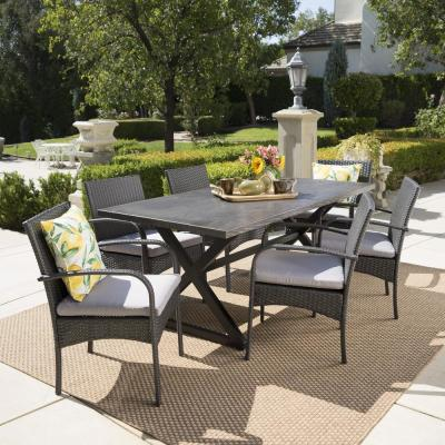 Ashworth 29 in. Grey 7-Piece Metal Rectangular Outdoor Dining Set with Grey Cushions