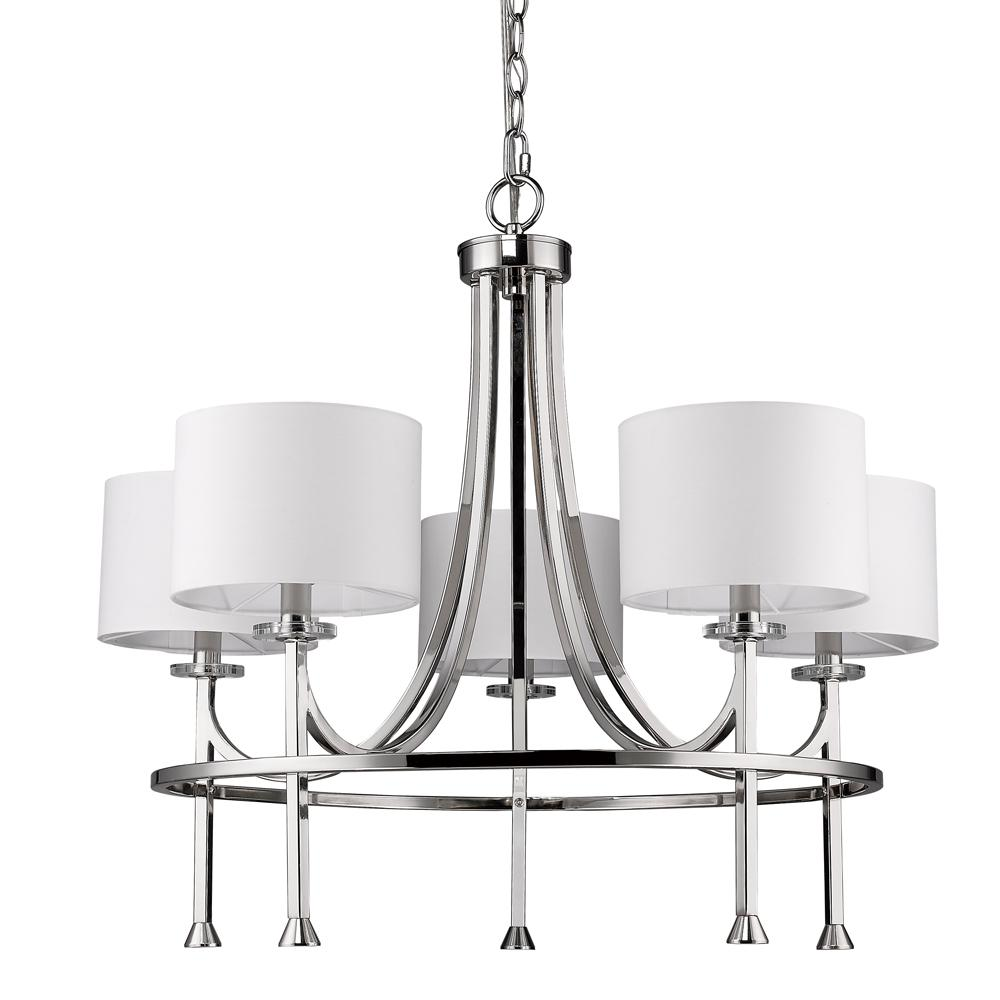 Acclaim Lighting Kara 5-Light Indoor Chandelier with Shades and Crystal Bobeches in Polished Nickel