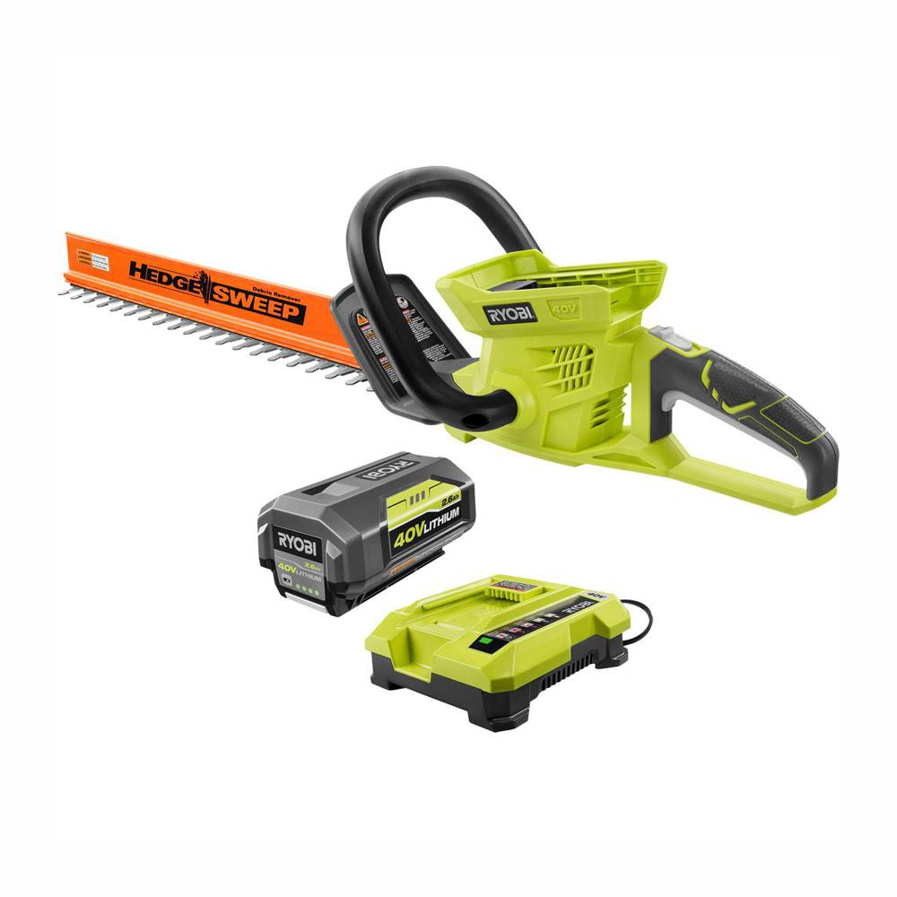 RYOBI 24 in. 40-Volt Lithium-Ion Cordless Hedge Trimmer - 2.6 Ah Battery and Charger Included