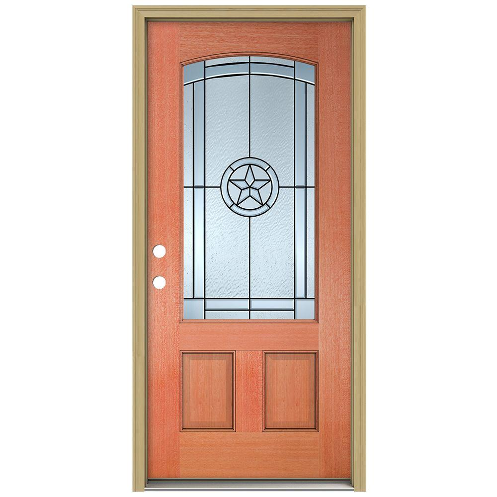 JELD-WEN 36 in. x 80 in. Lone Star Camber Top 3/4 Lite Unfinished Mahogany Prehung Front Door with Brickmould and Patina Caming