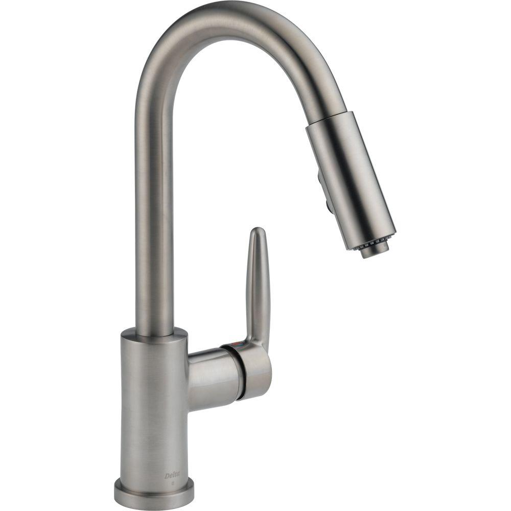 Delta Grail Single-Handle Pull-Down Sprayer Kitchen Faucet in Stainless Steel