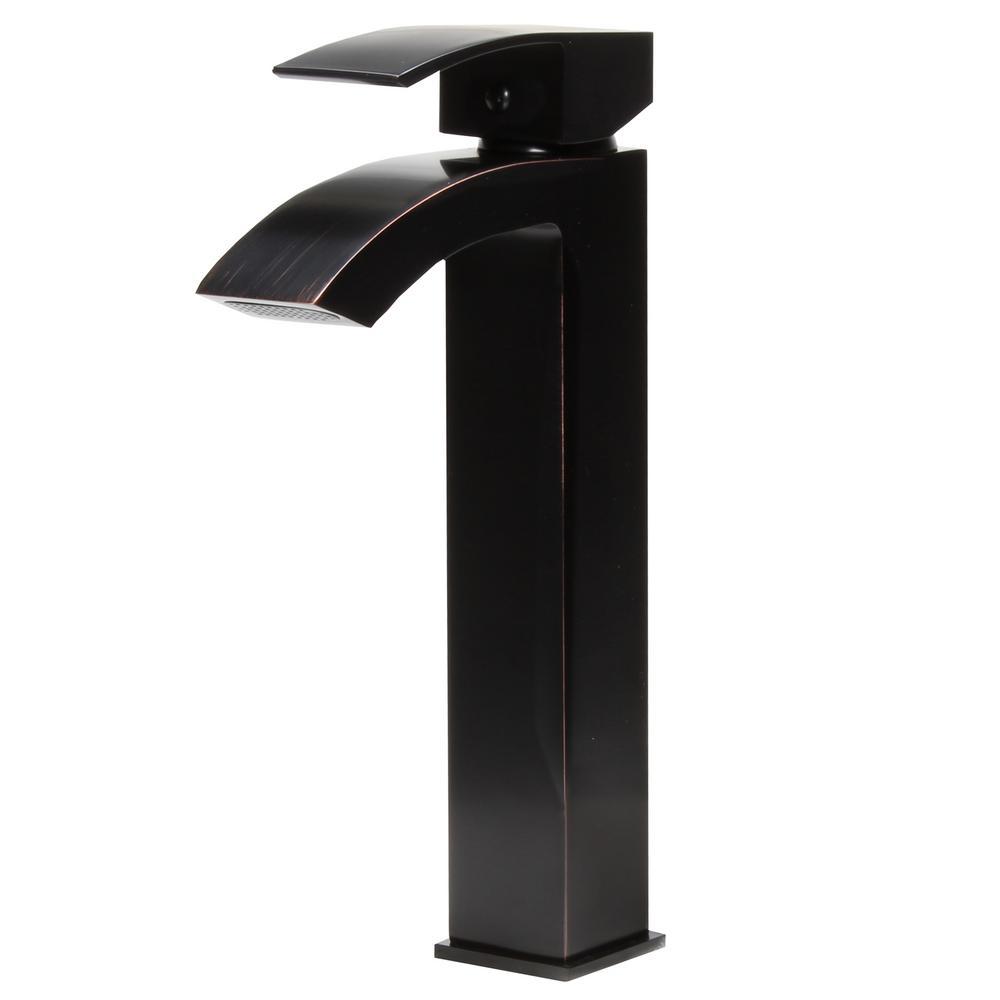Steger Modern Single Hole Single-Handle Bathroom Faucet in Oil Rubbed on tile bathroom modern, wall mount bathroom faucet modern, waterfall countertops modern,
