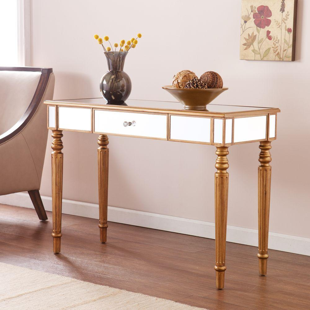 Merveilleux Southern Enterprises Fred Champagne Gold Mirrored Console Table