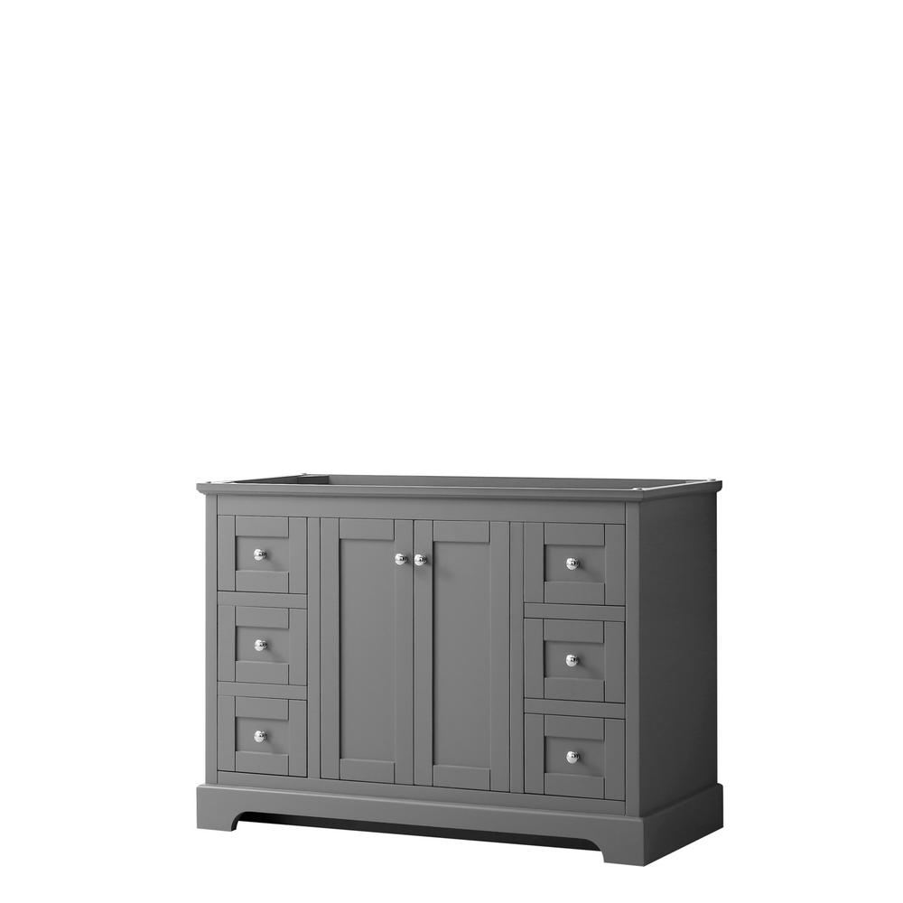 Wyndham Collection Avery 47.25 in. W x 21.75 in. D Bathroom Vanity Cabinet Only in Dark Gray