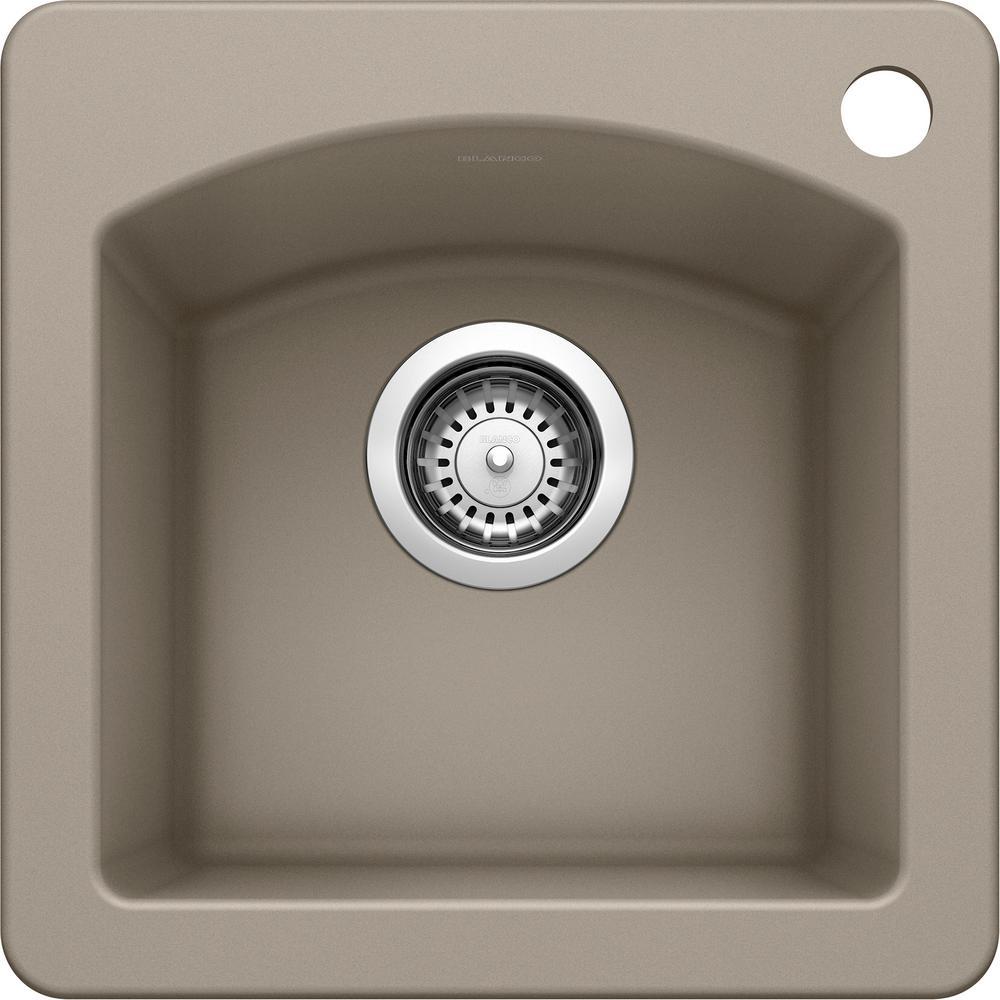 DIAMOND Dual Mount Granite Composite 15 in. 1-Hole Single Bowl Bar Sink in Truffle
