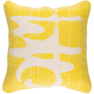 Castig Yellow Graphic Polyester 20 in. x 20 in. Throw Pillow