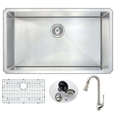 VANGUARD Undermount Stainless Steel 32 in. 0-Hole Single Bowl Kitchen Sink with Singer Faucet in Brushed Nickel