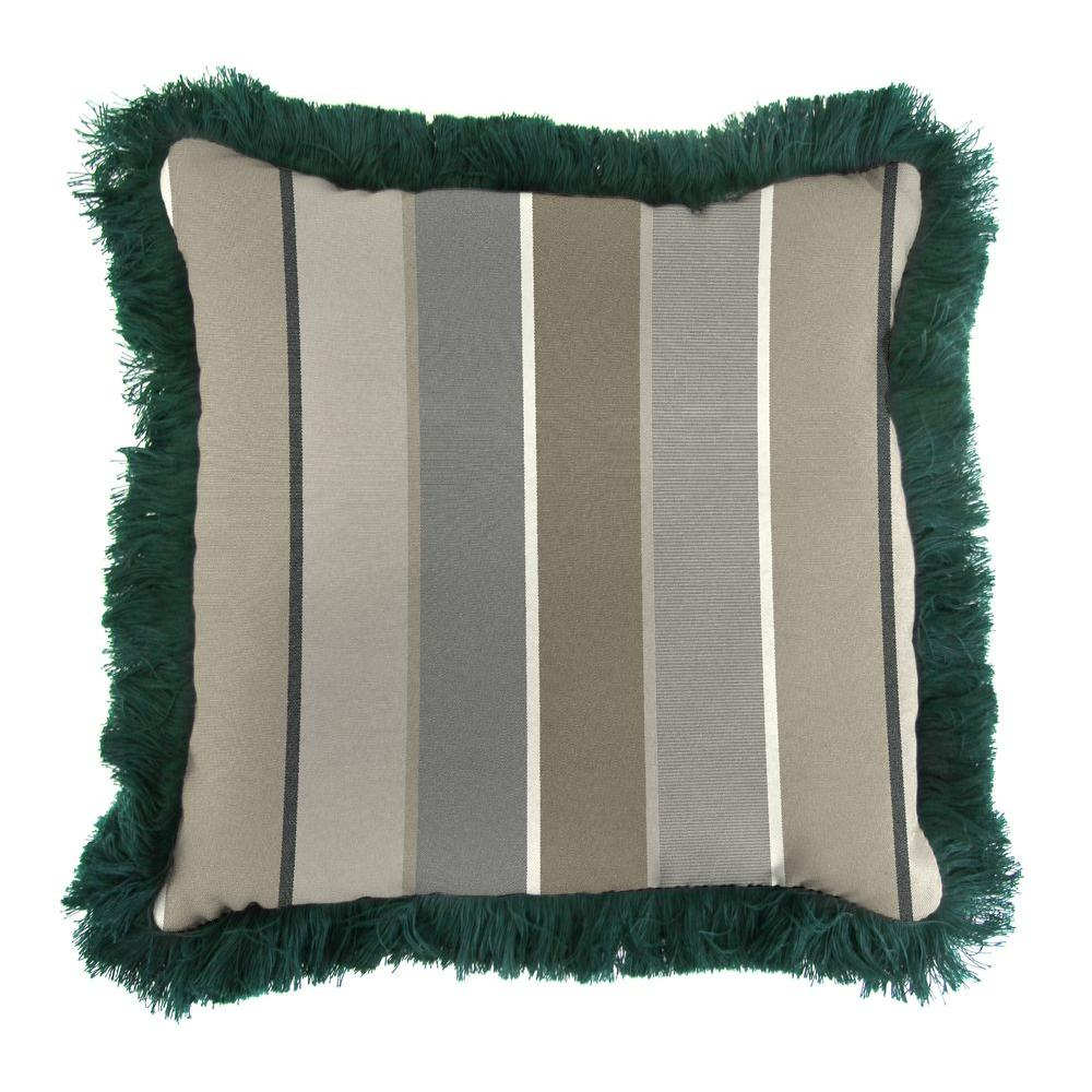 Sunbrella Milano Charcoal Square Outdoor Throw Pillow with Forest Green Fringe
