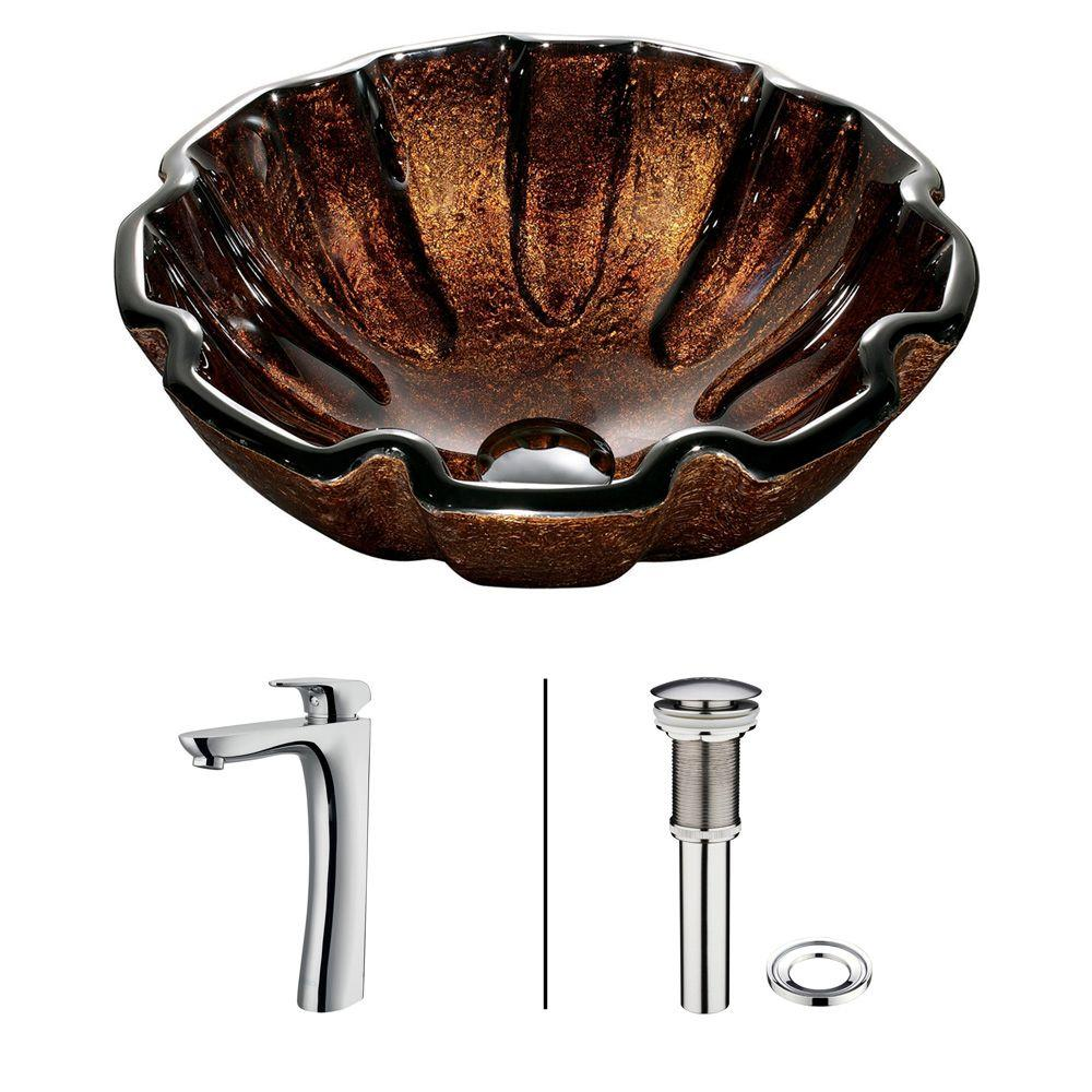 Vigo Walnut Shell Vessel Sink in Browns with Faucet in Chrome