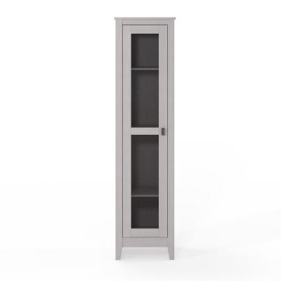 System Build Luca 18 in. Ivory Oak Wide Storage Cabinet with Mesh Door